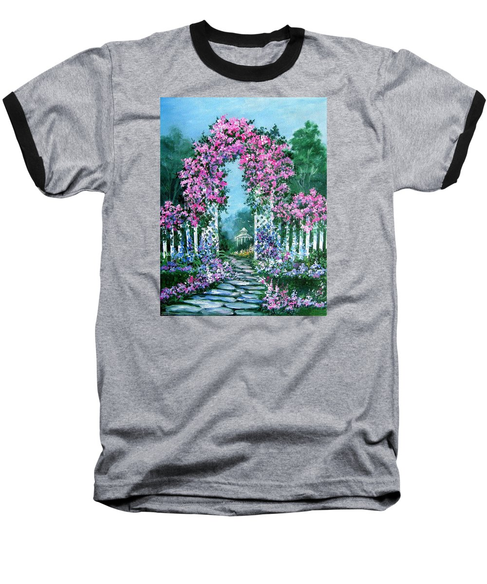 Roses;floral;garden;picket Fence;arch;trellis;garden Walk;flower Garden; Baseball T-Shirt featuring the painting Rose-covered Trellis by Lois Mountz