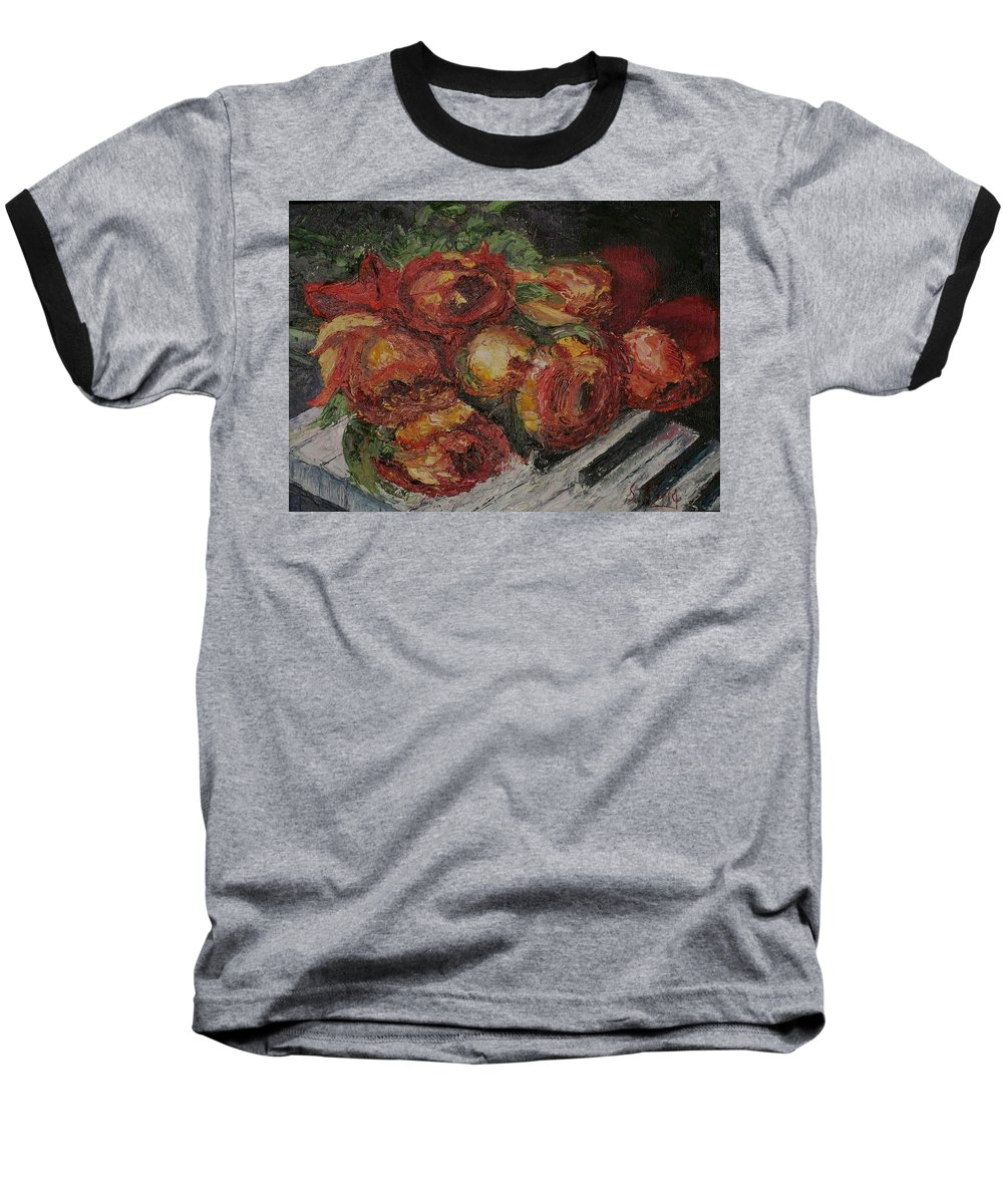 Still Life Baseball T-Shirt featuring the painting Rose Melody by Stephen King