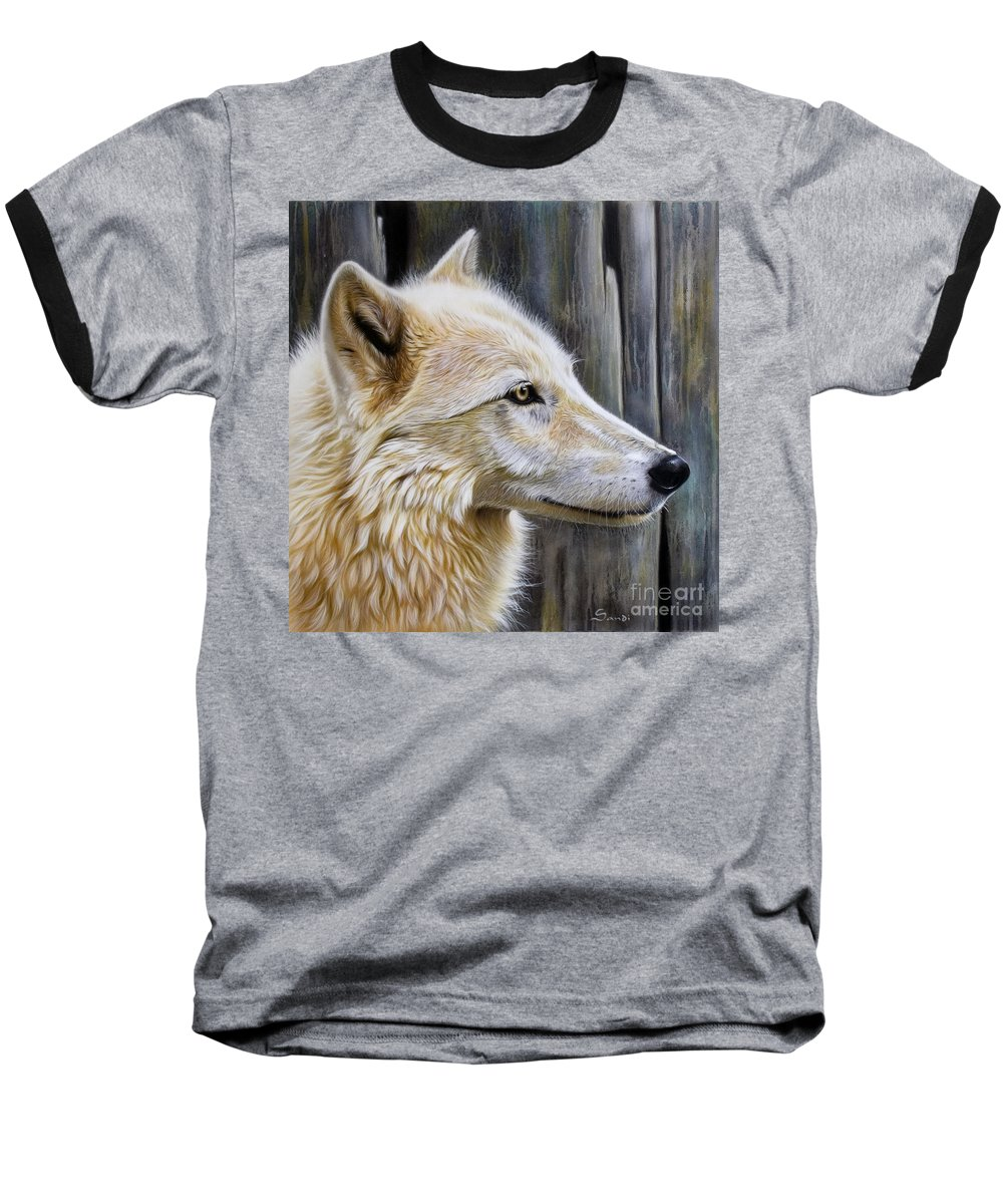 Wolves Baseball T-Shirt featuring the painting Rose by Sandi Baker