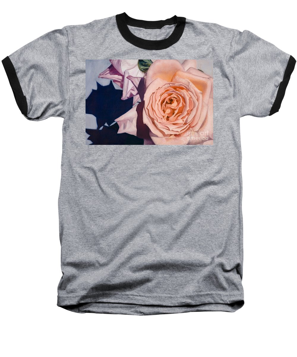 Roses Baseball T-Shirt featuring the painting Rose Splendour by Kerryn Madsen-Pietsch