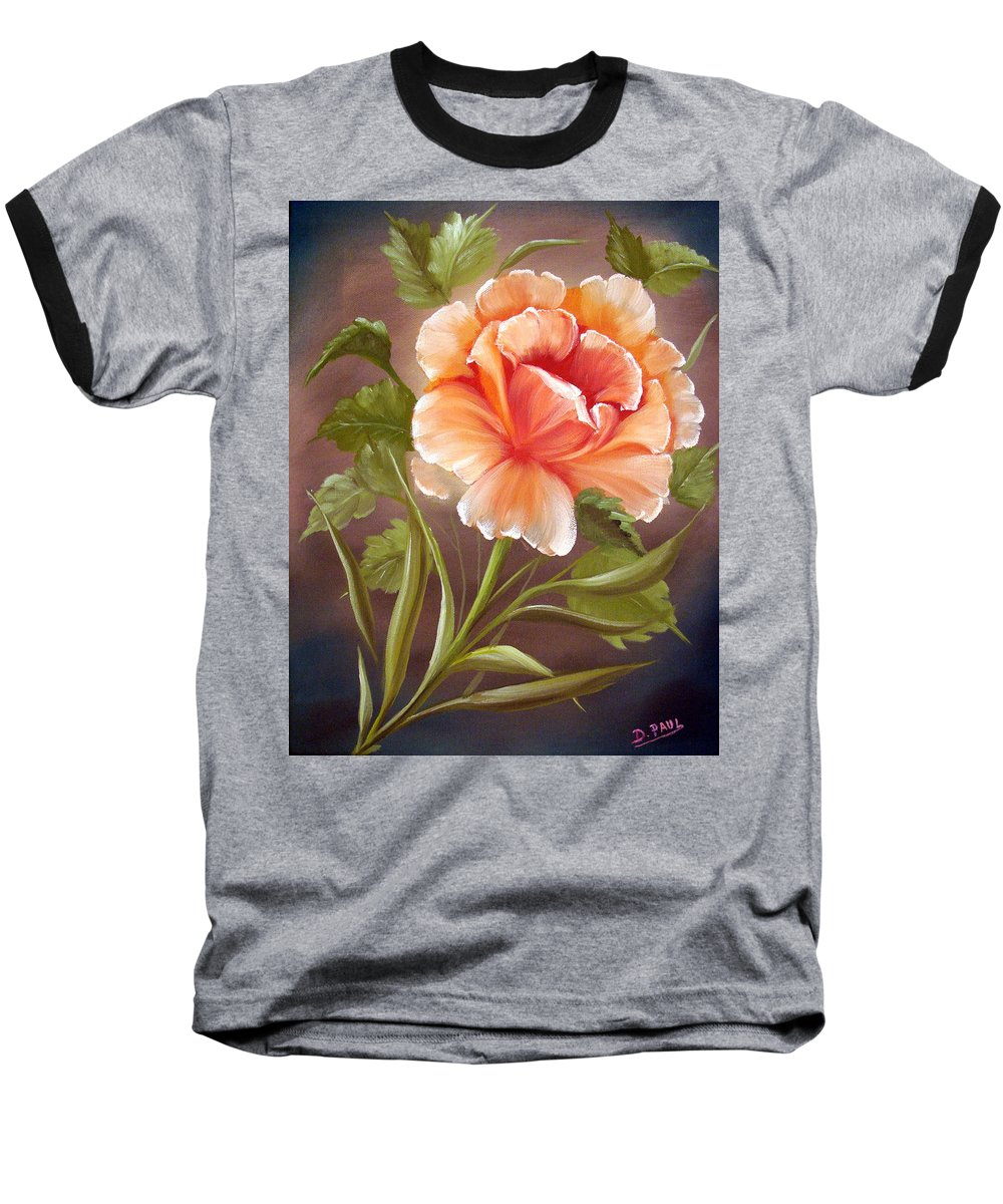 Rose Baseball T-Shirt featuring the painting Rose Tropicana by David G Paul