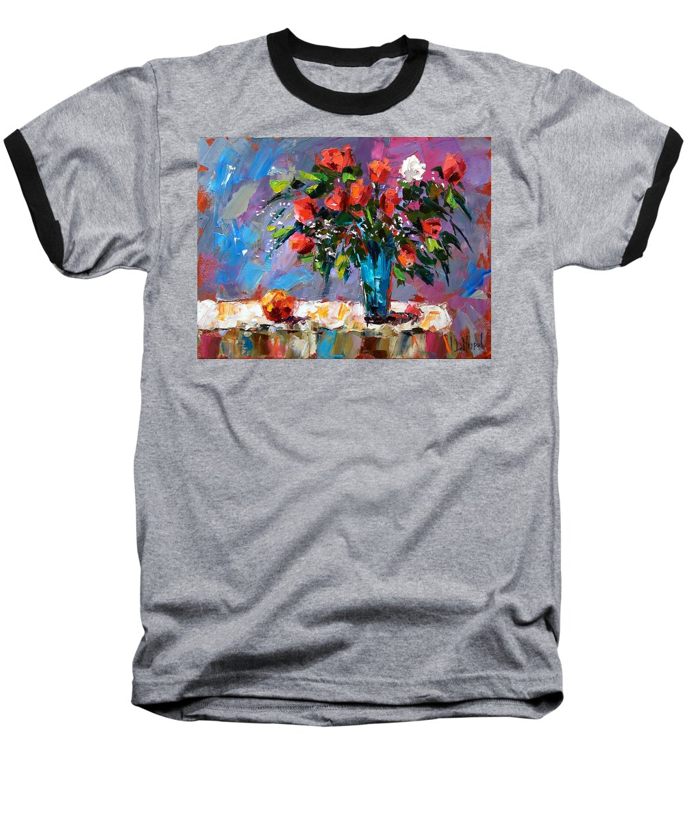 Flowers Baseball T-Shirt featuring the painting Roses And A Peach by Debra Hurd
