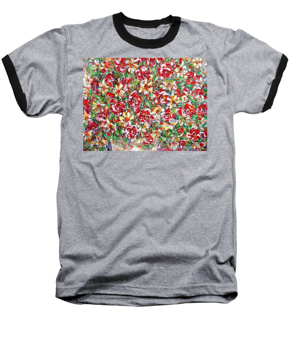 Red Roses Baseball T-Shirt featuring the painting Roses For You by Natalie Holland