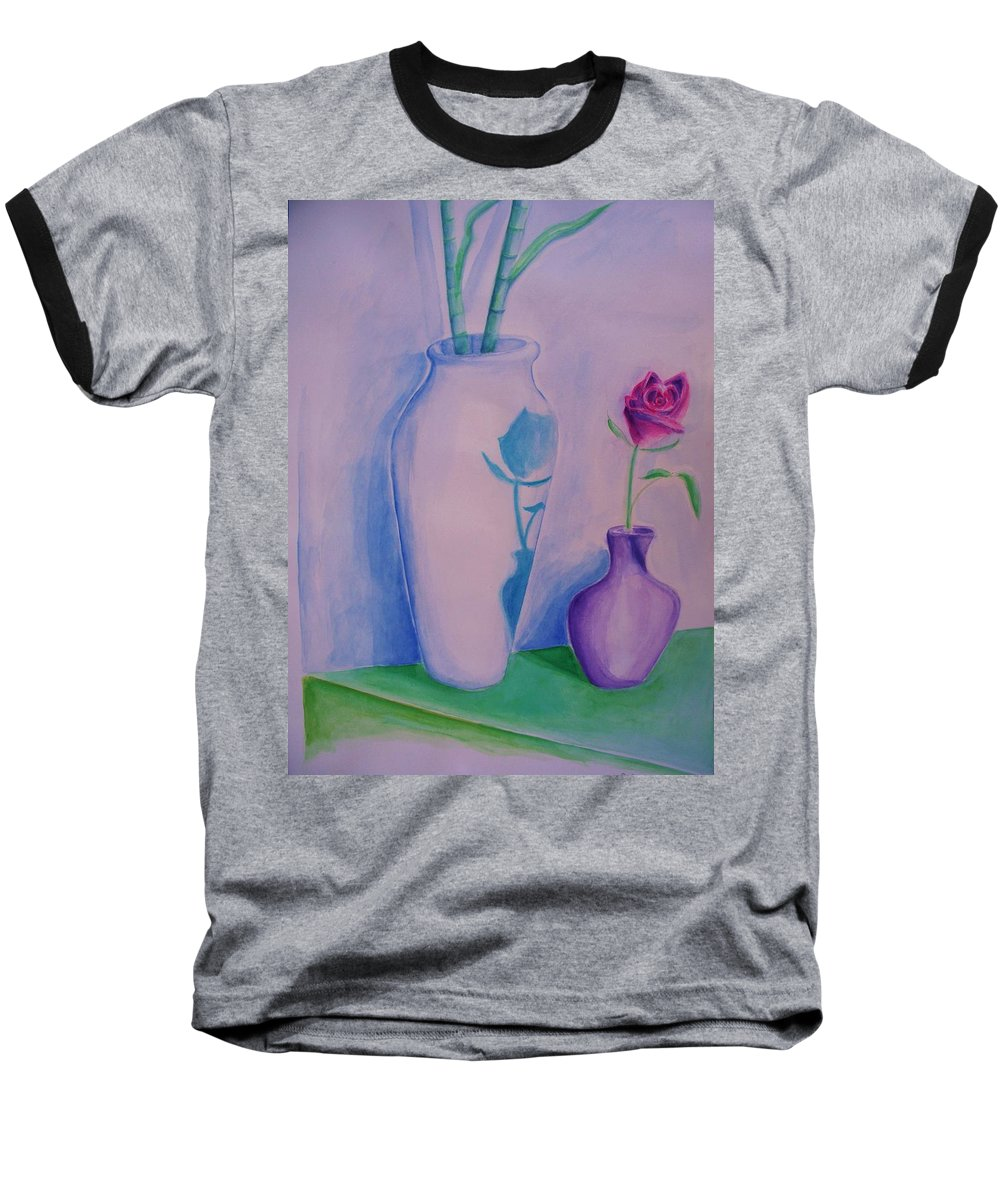 Red Rose Baseball T-Shirt featuring the painting Roses In Vase by Eric Schiabor