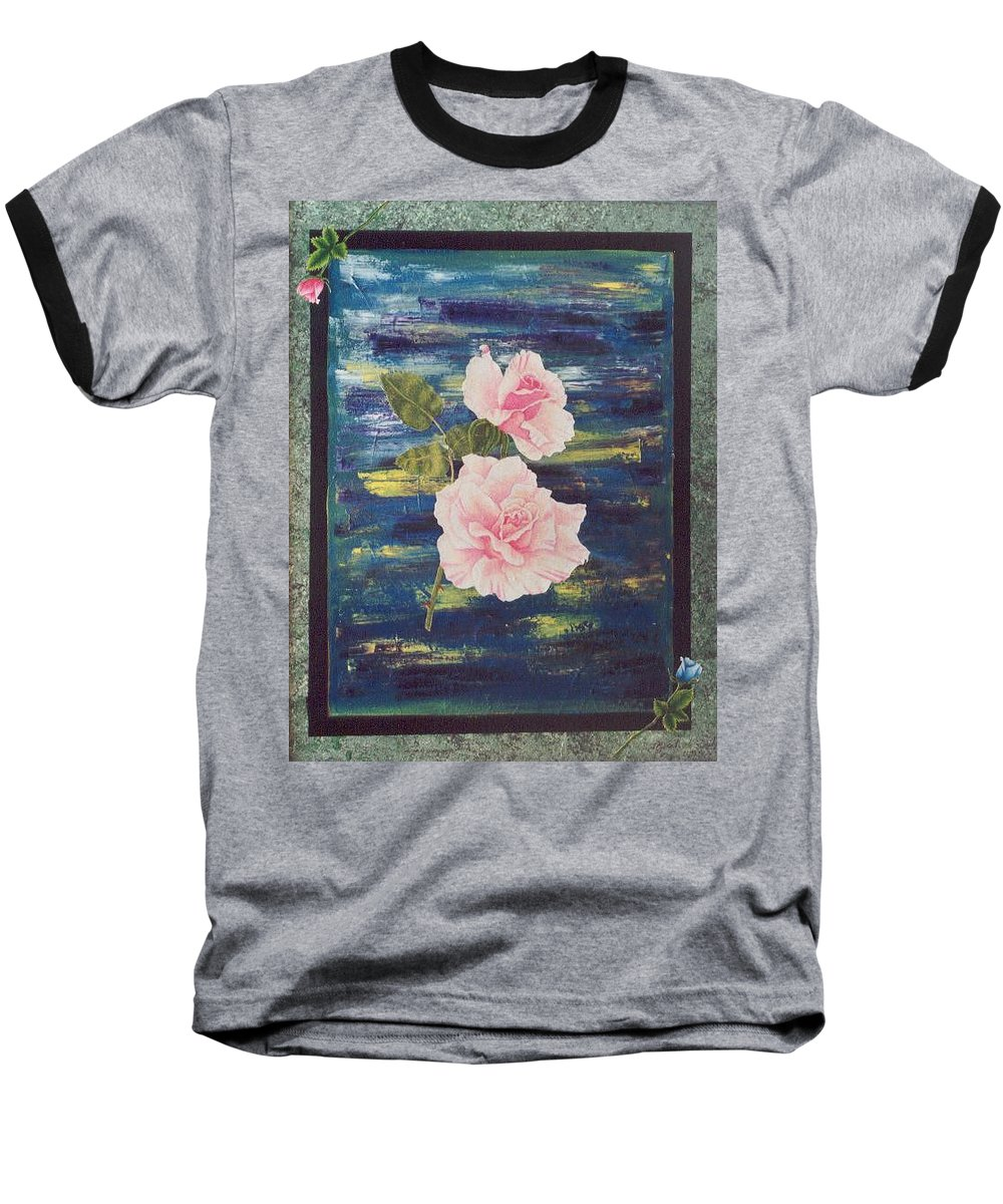 Rose Baseball T-Shirt featuring the painting Roses by Micah Guenther