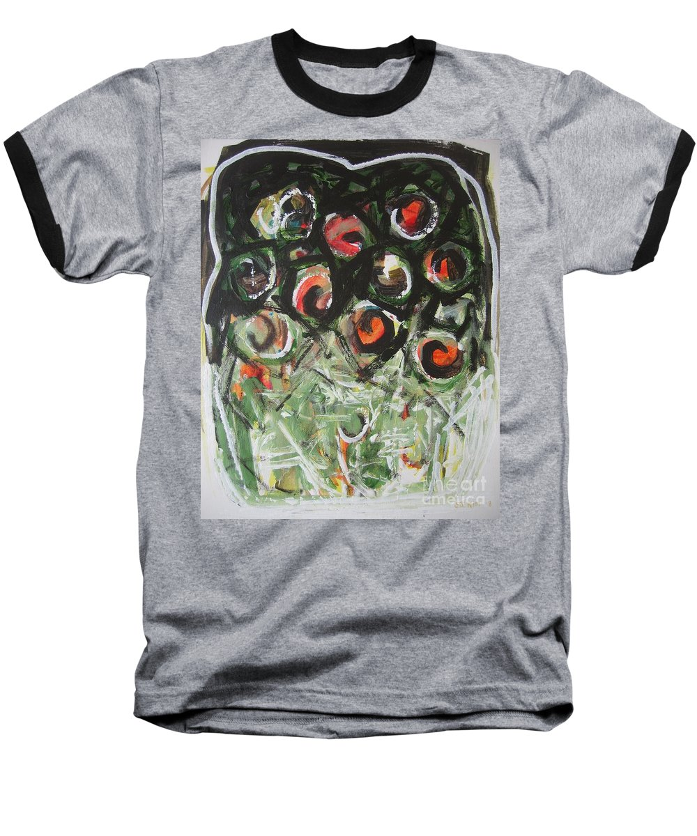 Abstract Painting Baseball T-Shirt featuring the painting Roses by Seon-Jeong Kim