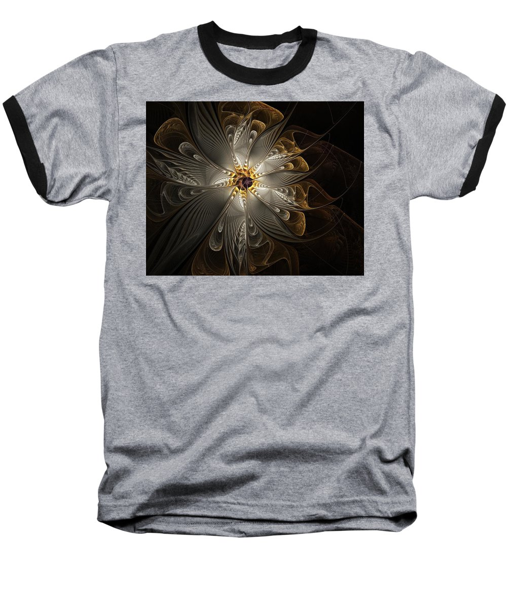Digital Art Baseball T-Shirt featuring the digital art Rosette In Gold And Silver by Amanda Moore