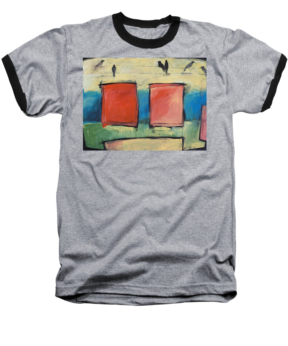 Rothko Baseball T-Shirt featuring the painting Rothko Meets Hitchcock by Tim Nyberg