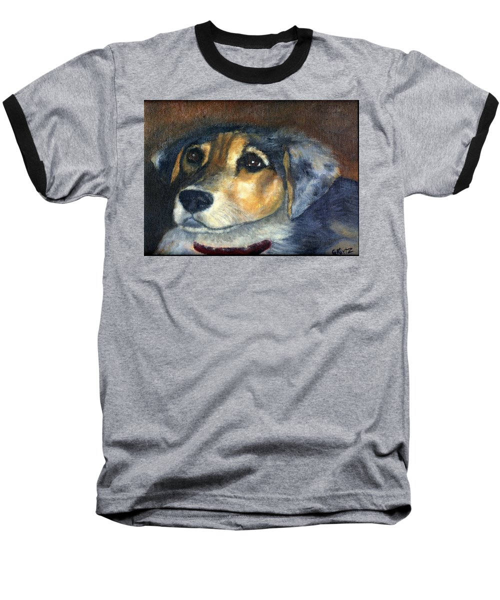 Dog Baseball T-Shirt featuring the painting Roxie by Gail Kirtz