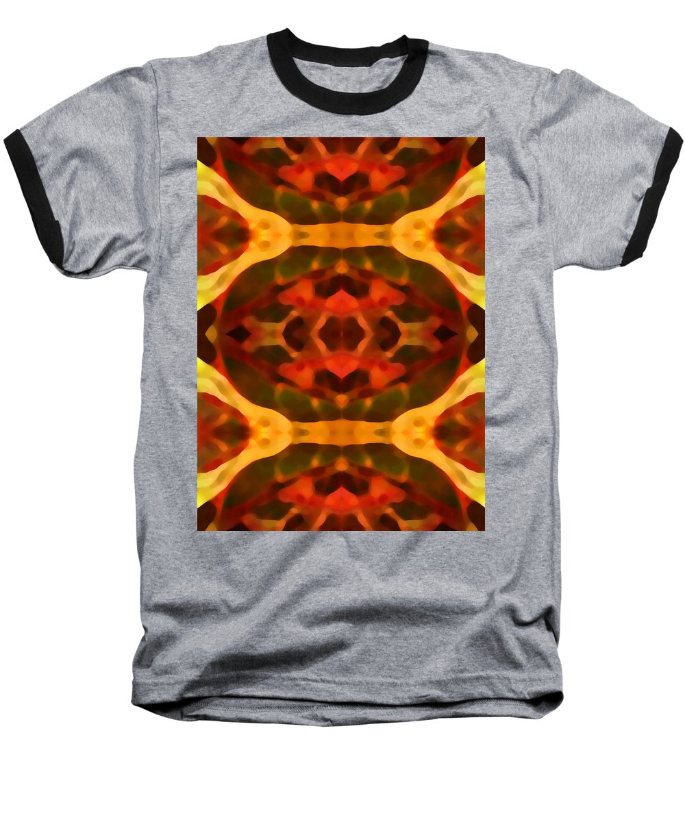 Abstract Painting Baseball T-Shirt featuring the digital art Ruby Crystal Pattern by Amy Vangsgard