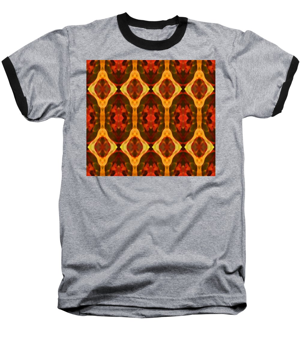 Abstract Baseball T-Shirt featuring the painting Ruby Glow Pattern by Amy Vangsgard