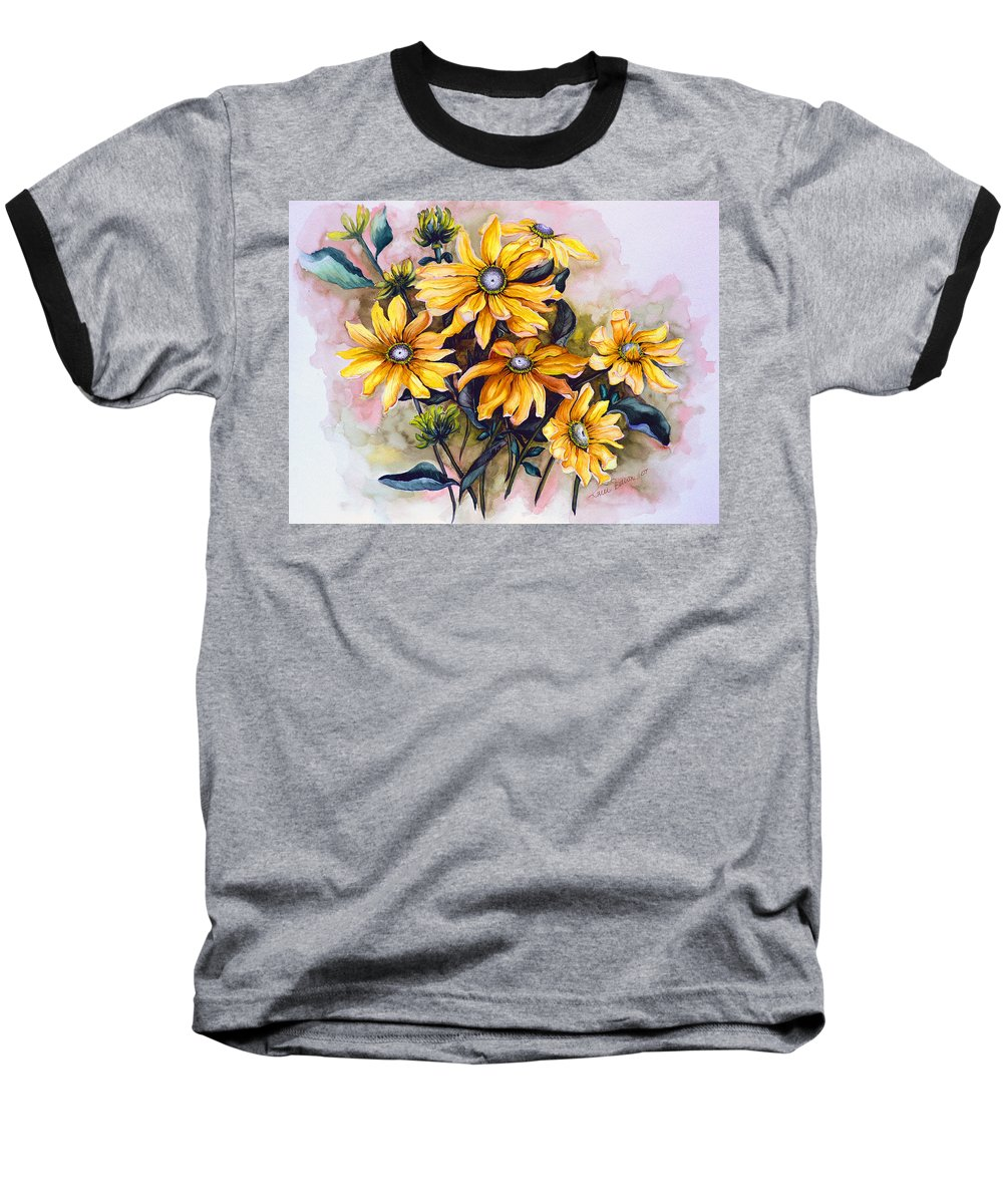 Flower Painting Sun Flower Painting Flower Botanical Painting  Original Watercolor Painting Rudebeckia Painting Floral Painting Yellow Painting Greeting Card Painting Baseball T-Shirt featuring the painting Rudbeckia Prairie Sun by Karin Dawn Kelshall- Best