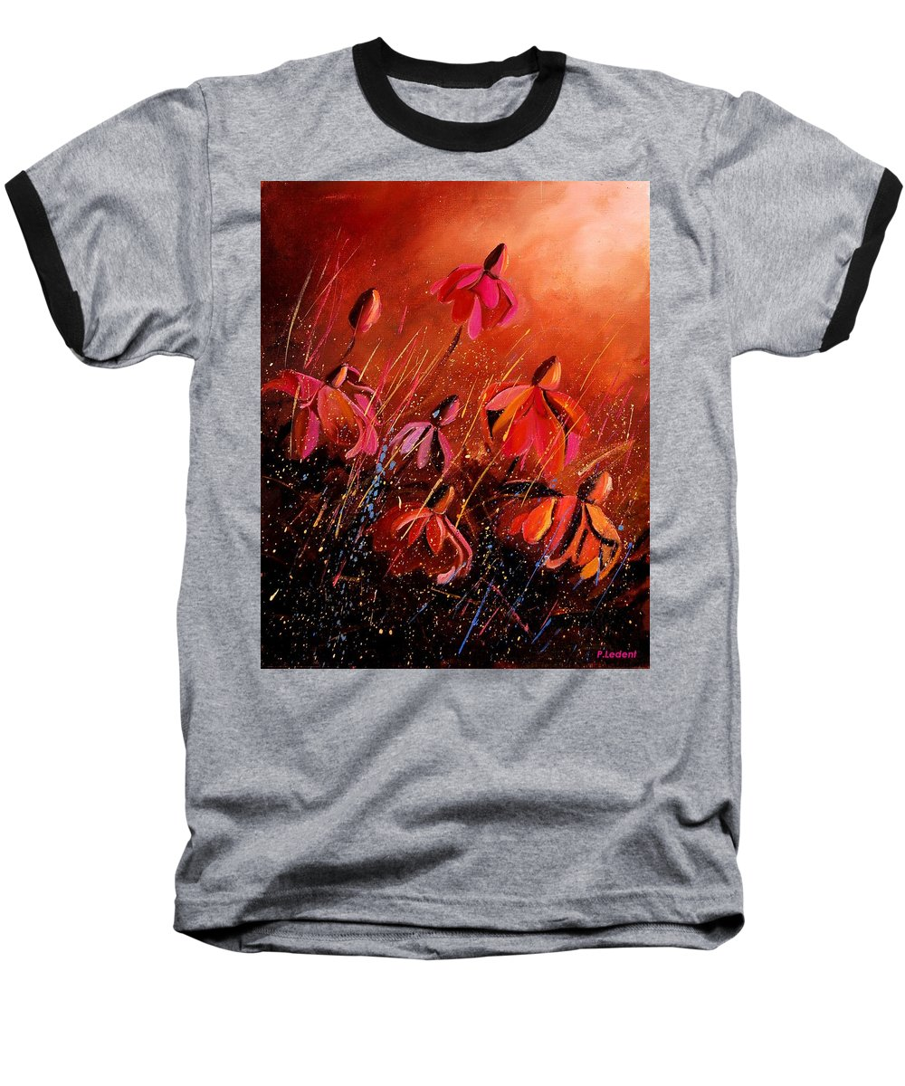 Poppies Baseball T-Shirt featuring the painting Rudbeckia's 45 by Pol Ledent