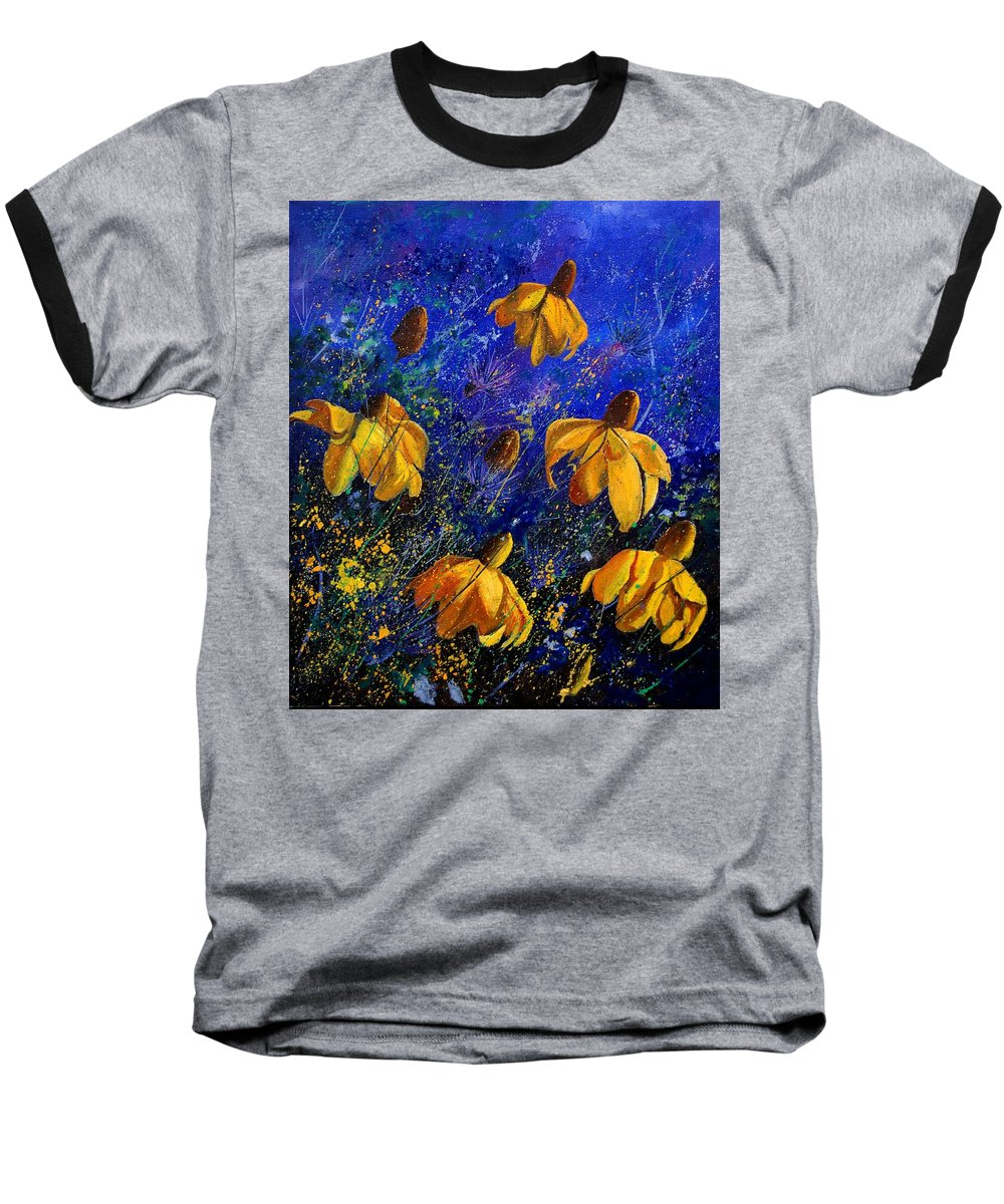 Poppies Baseball T-Shirt featuring the painting Rudbeckia's by Pol Ledent