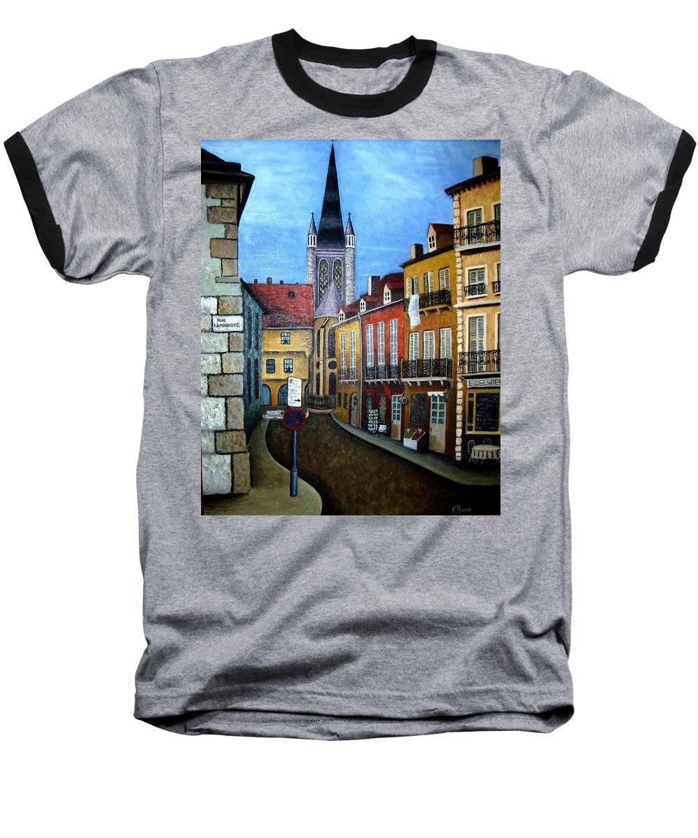 Street Scene Baseball T-Shirt featuring the painting Rue Lamonnoye In Dijon France by Nancy Mueller