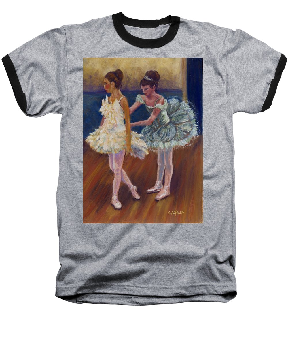 Ballerina Baseball T-Shirt featuring the painting Ruffled Feathers by Sharon E Allen