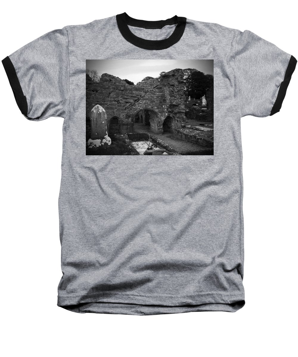 Irish Baseball T-Shirt featuring the photograph Ruins At Donegal Abbey Donegal Ireland by Teresa Mucha