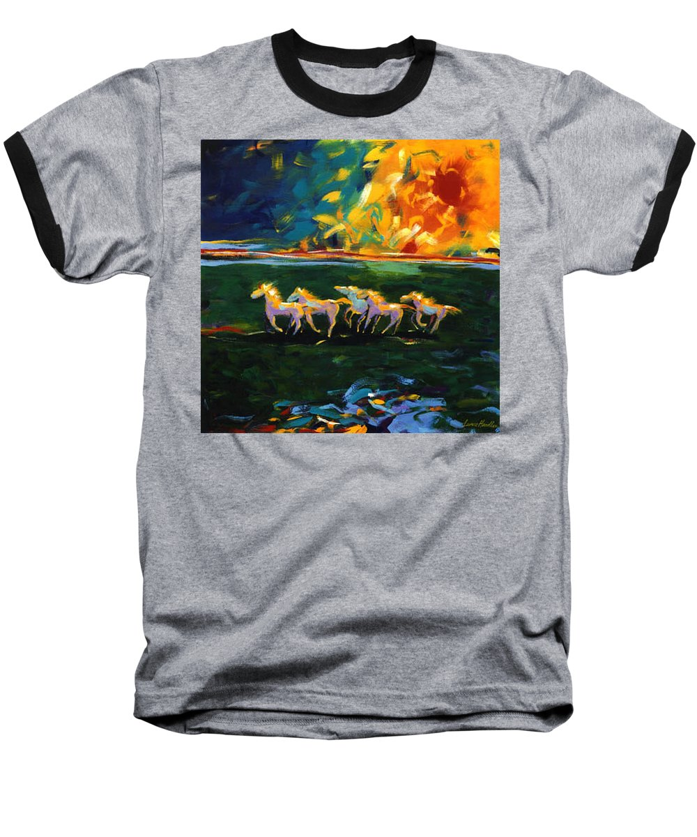 Abstract Horse Baseball T-Shirt featuring the painting Run From The Sun by Lance Headlee
