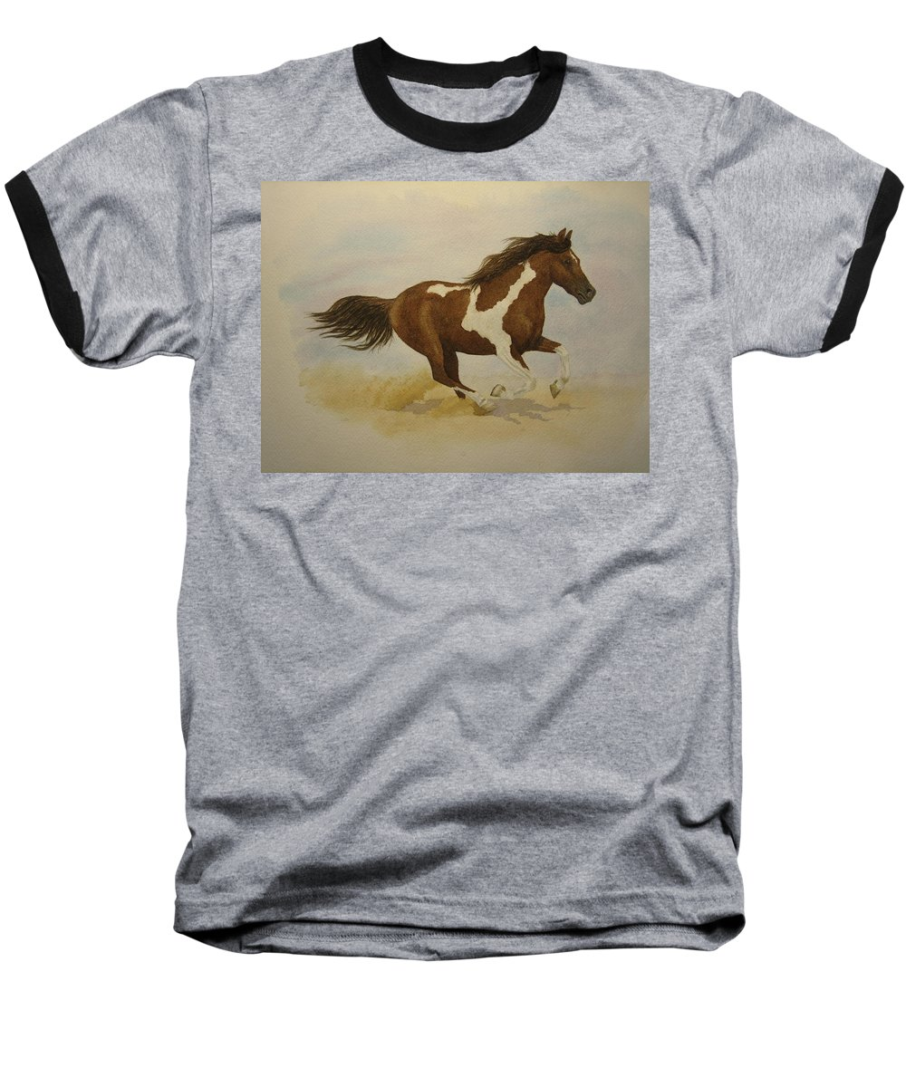 Paint Horse Baseball T-Shirt featuring the painting Running Paint by Jeff Lucas