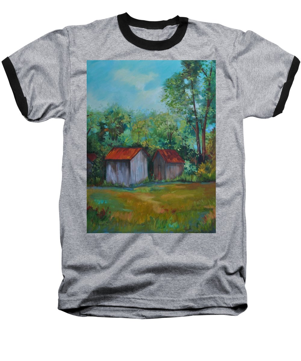 Outbuildings Baseball T-Shirt featuring the painting Rural Architecture by Ginger Concepcion