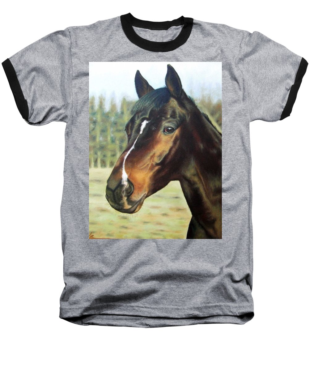 Horse Baseball T-Shirt featuring the painting Russian Horse by Nicole Zeug