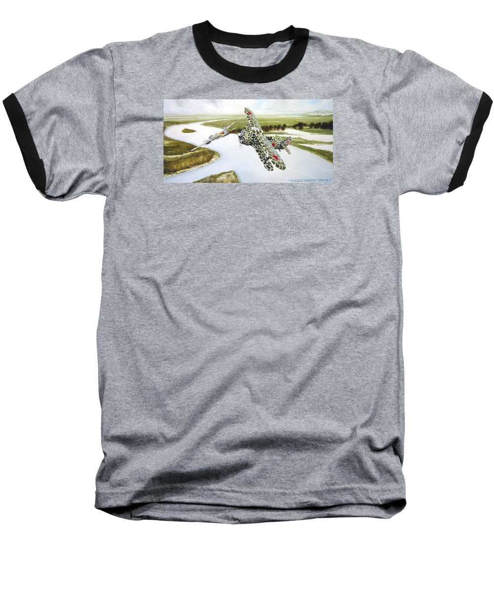 Aviation Baseball T-Shirt featuring the painting Russian Roulette by Marc Stewart