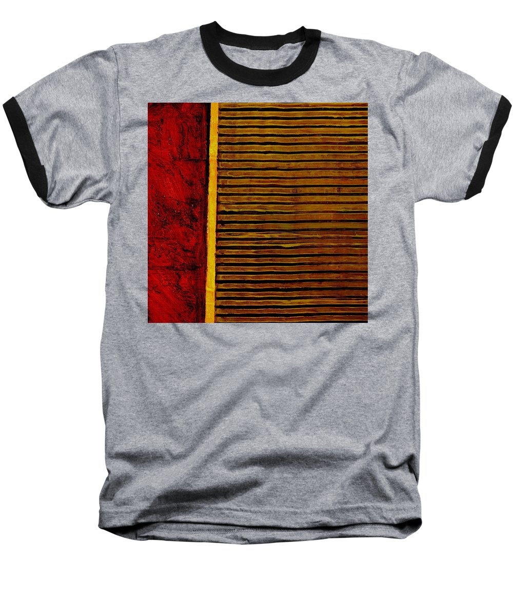 Rustic Baseball T-Shirt featuring the painting Rustic Abstract One by Michelle Calkins
