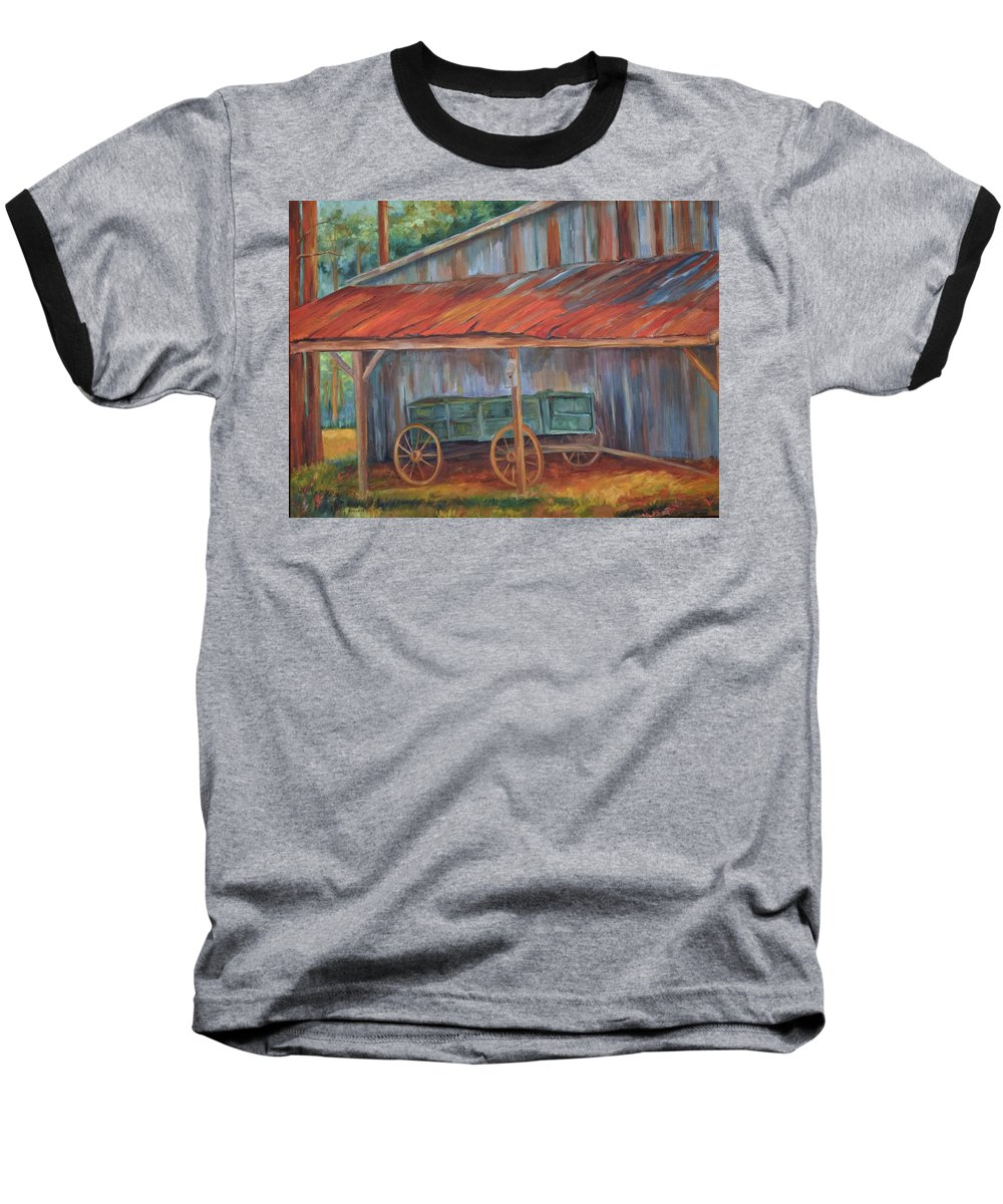 Old Wagons Baseball T-Shirt featuring the painting Rustification by Ginger Concepcion
