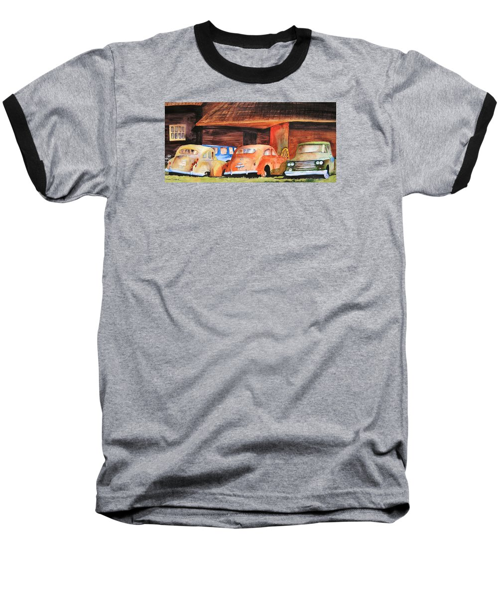 Car Baseball T-Shirt featuring the painting Rusting by Karen Stark