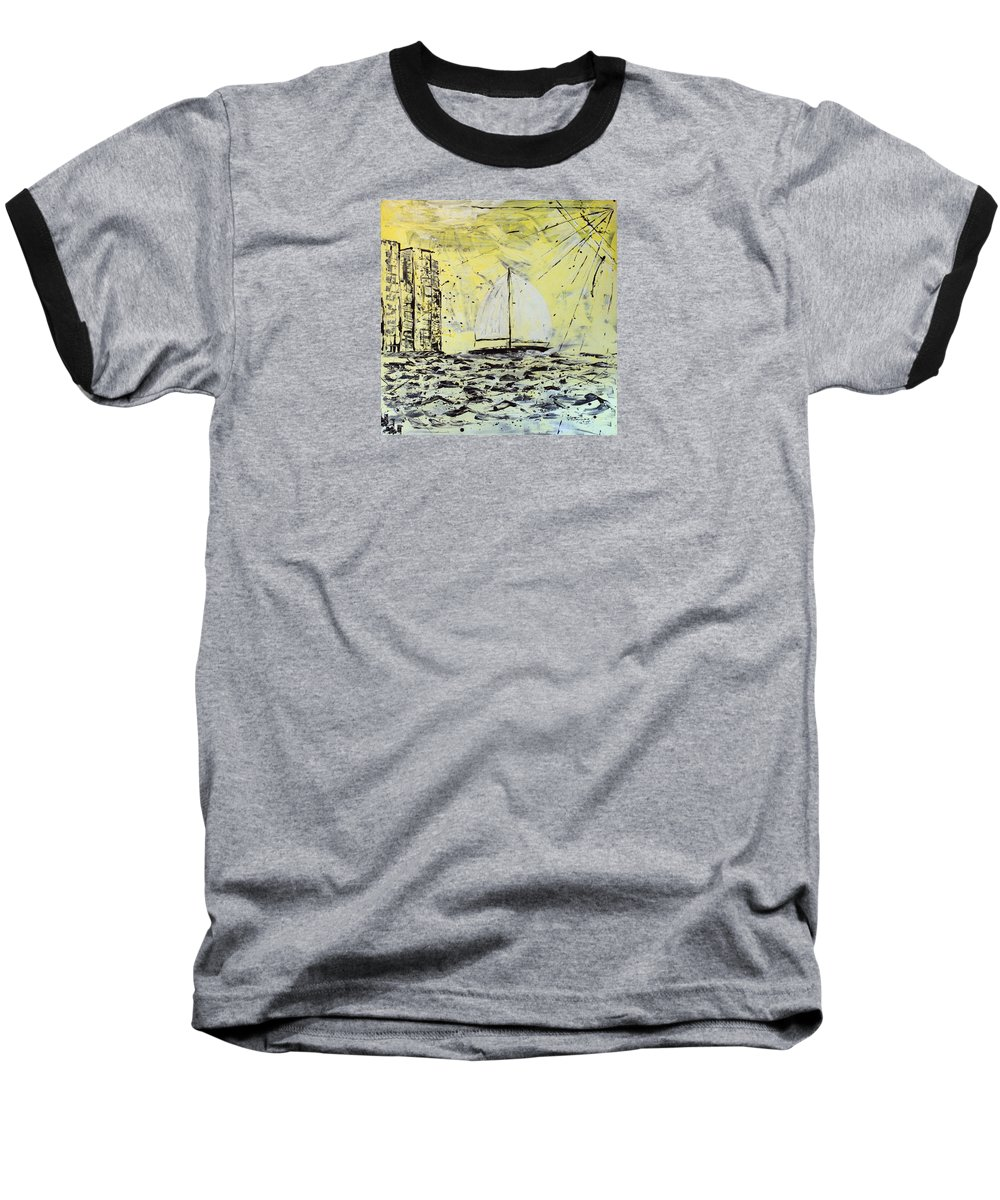 Abstract Baseball T-Shirt featuring the painting Sail And Sunrays by J R Seymour