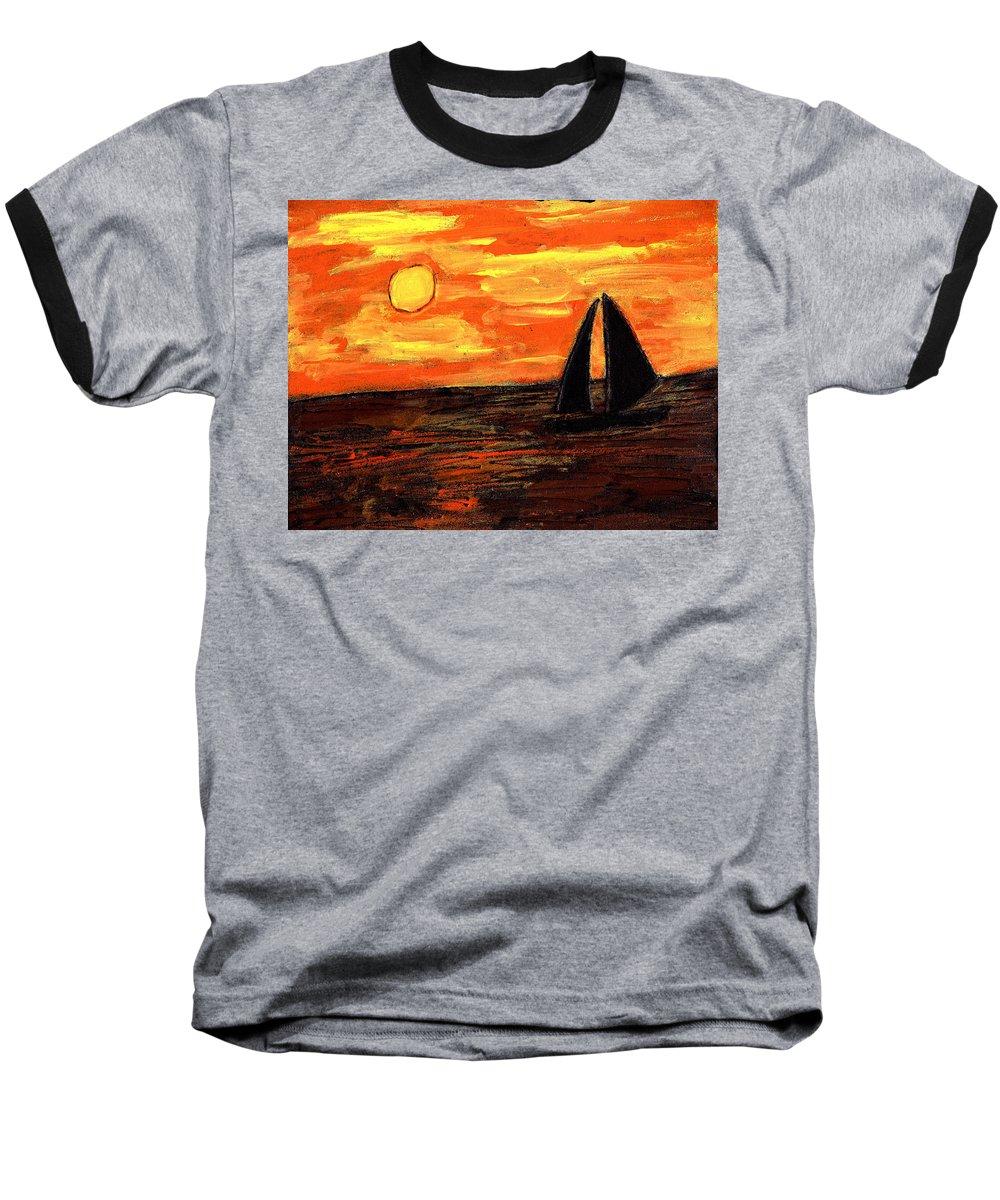 Sailing Baseball T-Shirt featuring the painting Sailing Home At Sunset by Wayne Potrafka