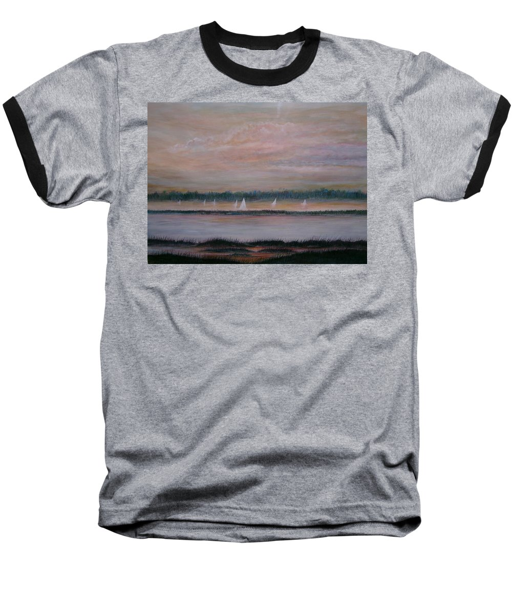 Sailboats; Marsh; Sunset Baseball T-Shirt featuring the painting Sails In The Sunset by Ben Kiger