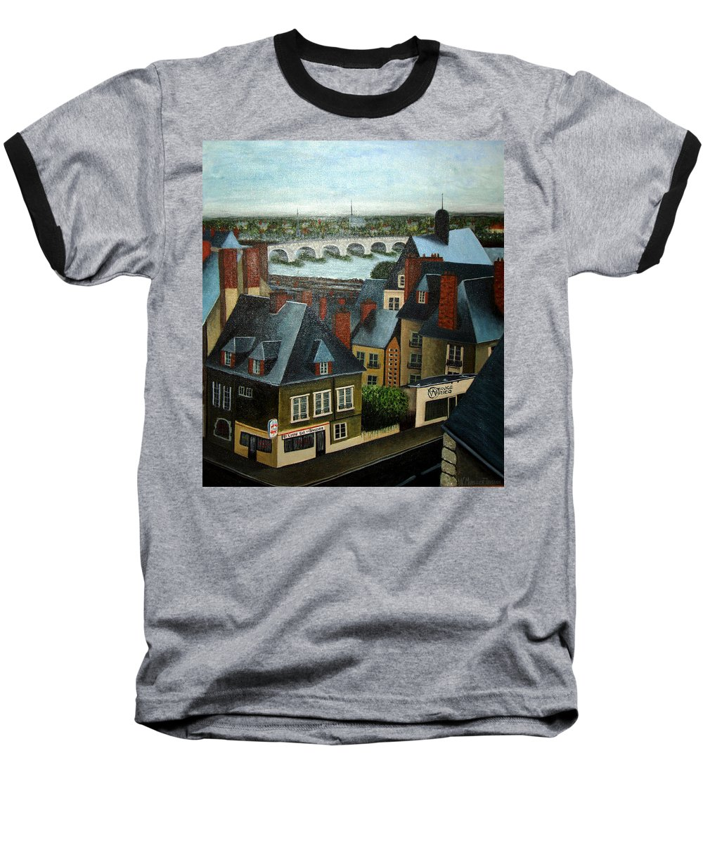 Acrylic Baseball T-Shirt featuring the painting Saint Lubin Bar In Lyon France by Nancy Mueller