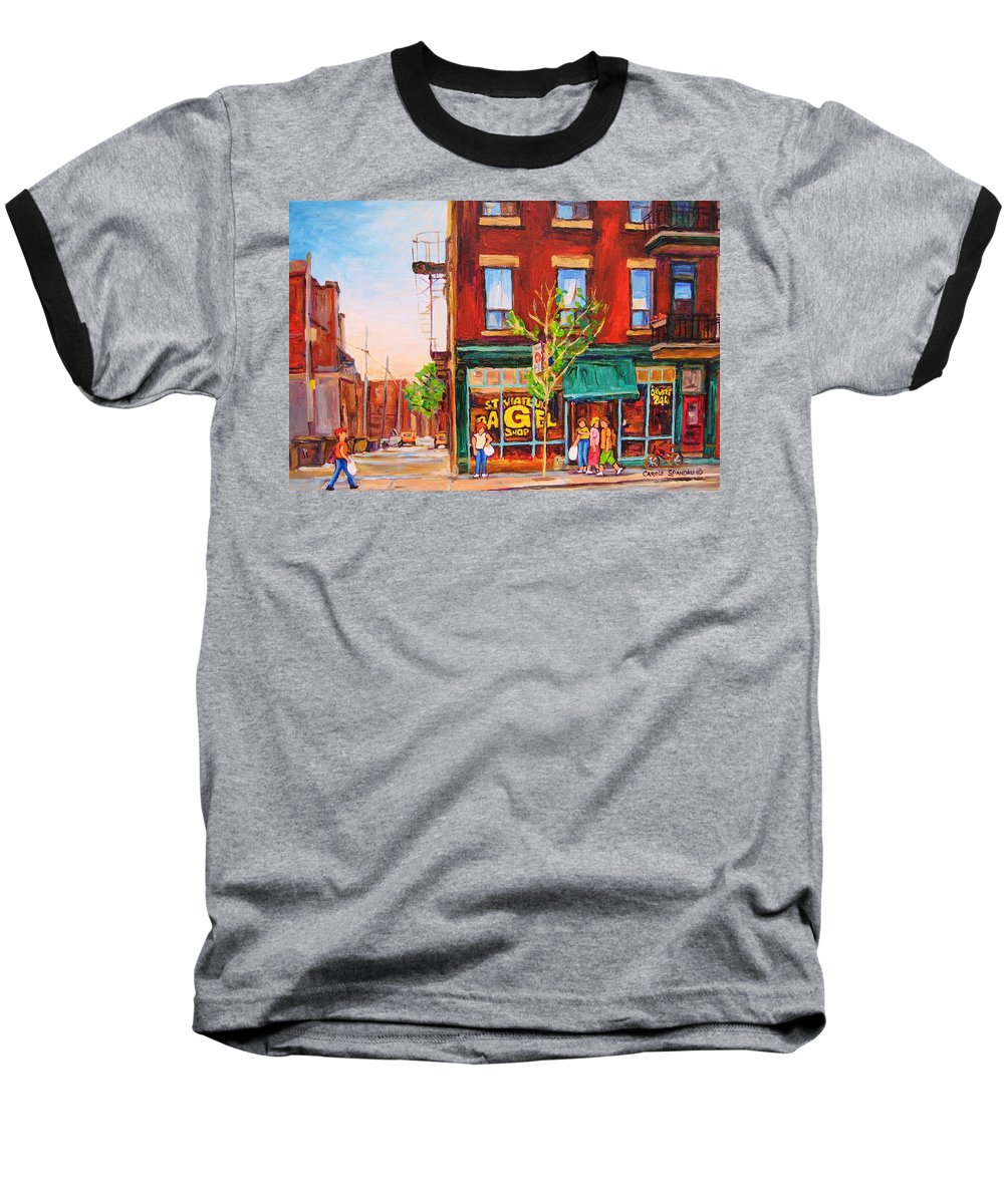 Montreal Baseball T-Shirt featuring the painting Saint Viateur Bagel by Carole Spandau