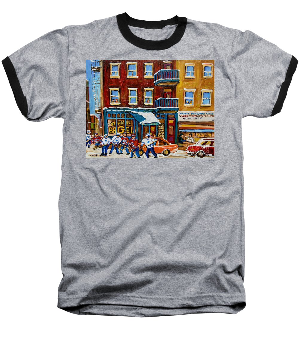 Montreal Baseball T-Shirt featuring the painting Saint Viateur Bagel With Hockey by Carole Spandau
