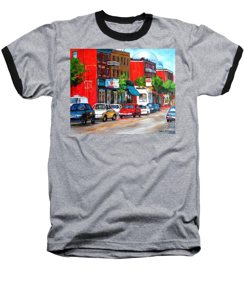 St.viateur Bagel Baseball T-Shirt featuring the painting Saint Viateur Street by Carole Spandau