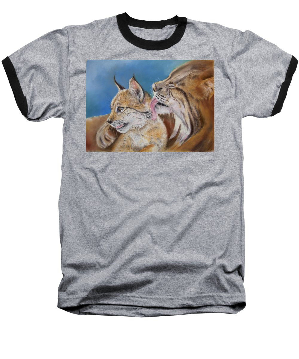 Iberian Lynx Baseball T-Shirt featuring the painting Saliega Y Brezo by Ceci Watson