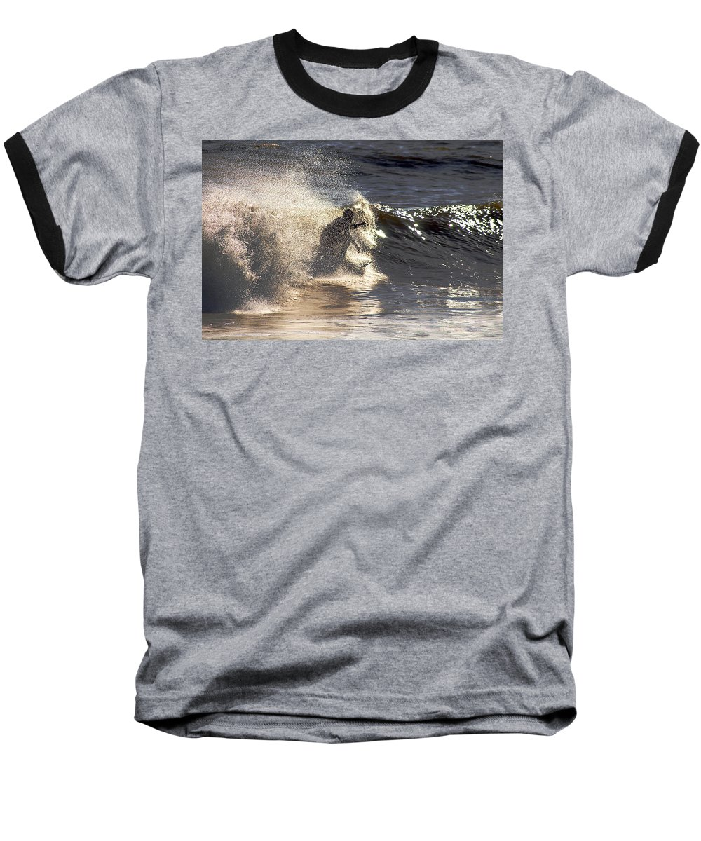 Clay Baseball T-Shirt featuring the photograph Salt Spray Surfing by Clayton Bruster