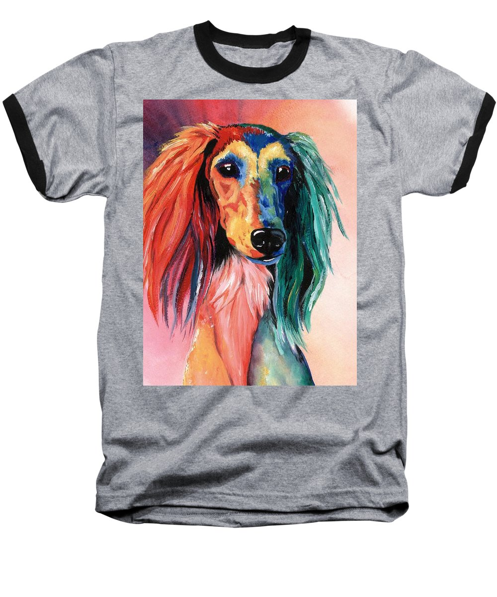 Saluki Baseball T-Shirt featuring the painting Saluki Sunset by Kathleen Sepulveda