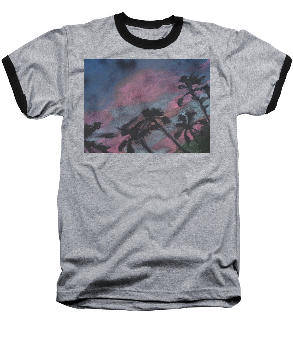 Contemporary Tree Landscapes Baseball T-Shirt featuring the drawing San Diego Palms by Leah Tomaino