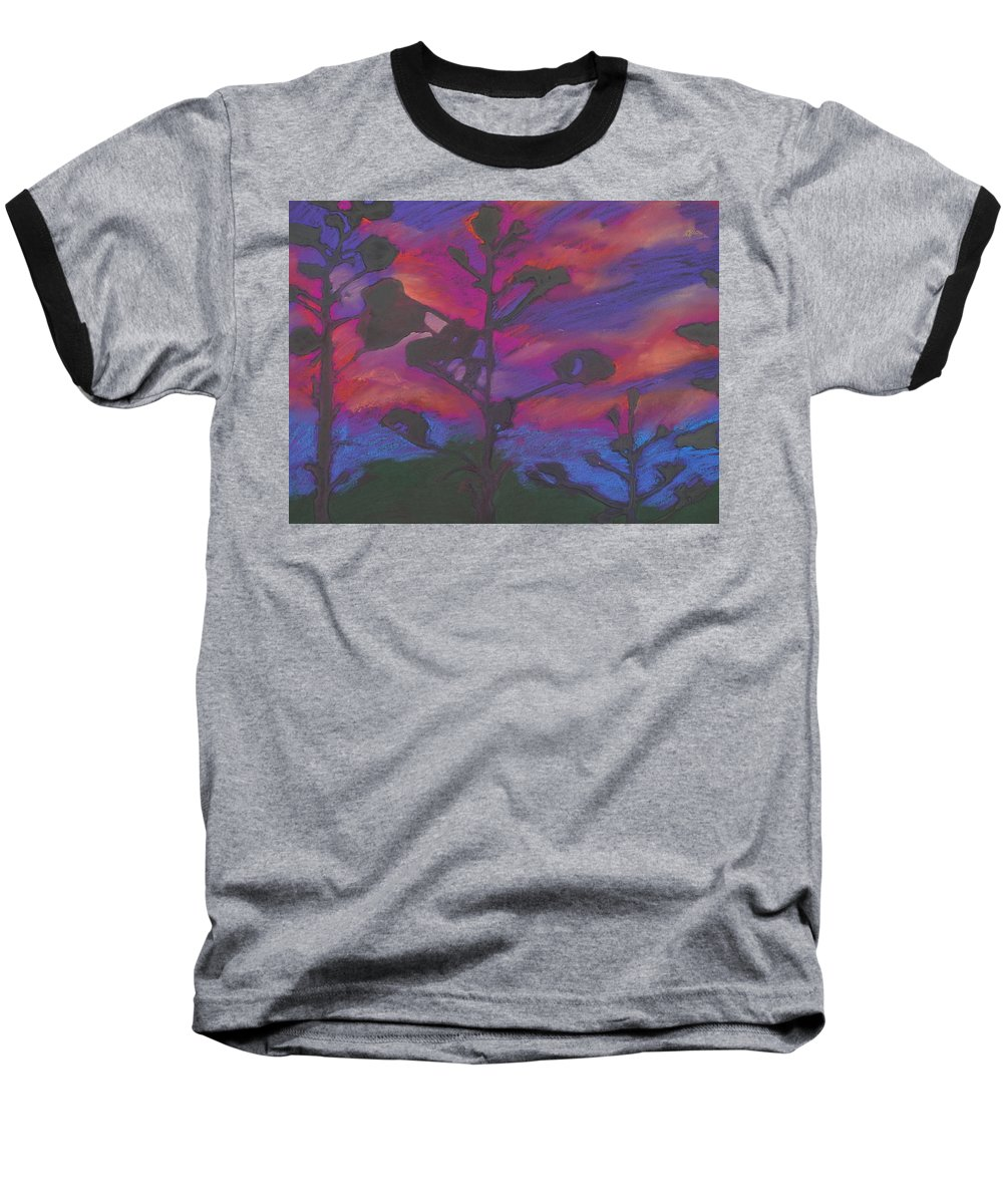 Contemporary Tree Landscape Baseball T-Shirt featuring the mixed media San Diego Sunset by Leah Tomaino