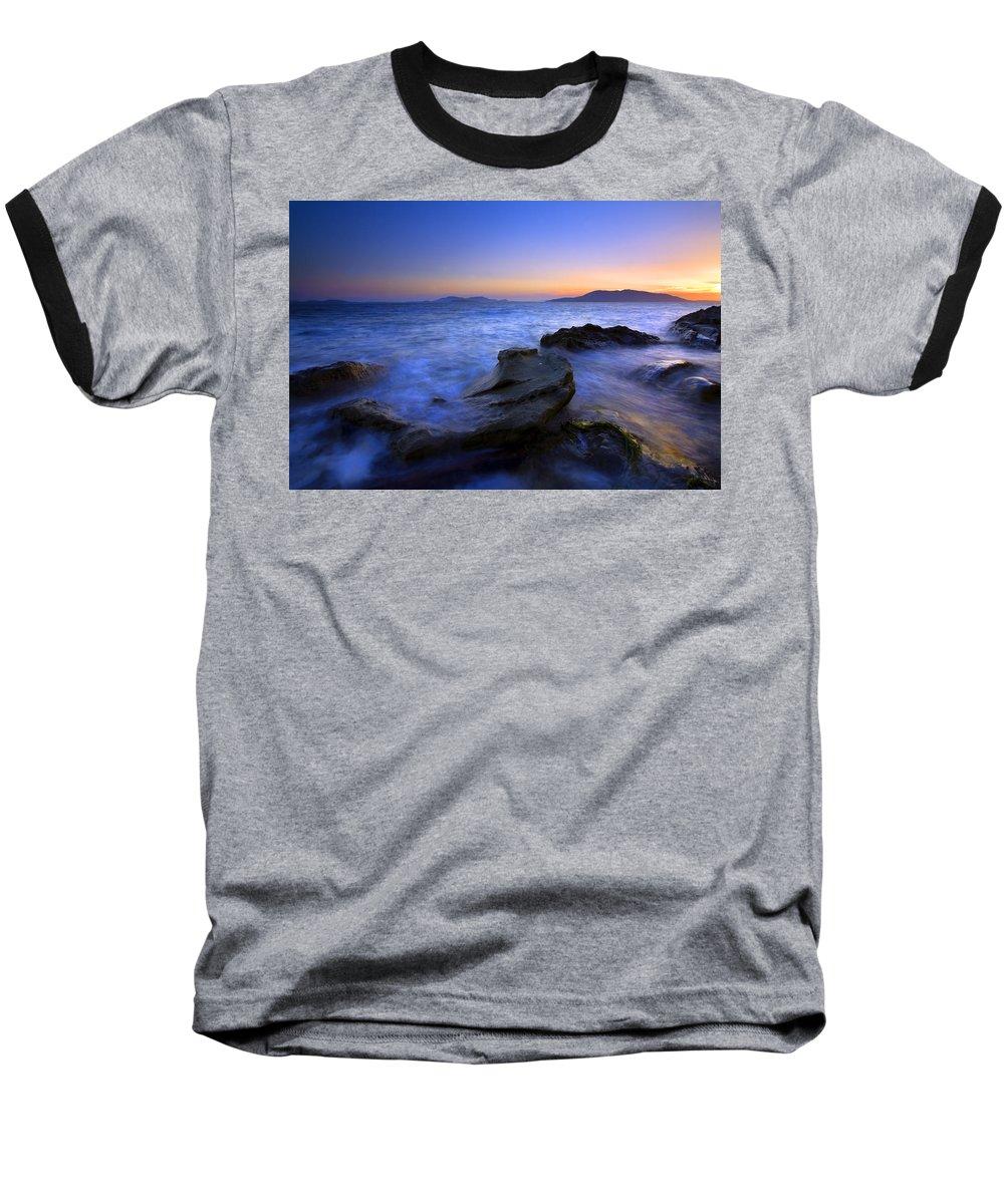 Sunset Baseball T-Shirt featuring the photograph San Juan Sunset by Mike Dawson