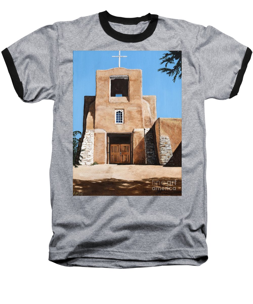 Art Baseball T-Shirt featuring the painting San Miguel by Mary Rogers