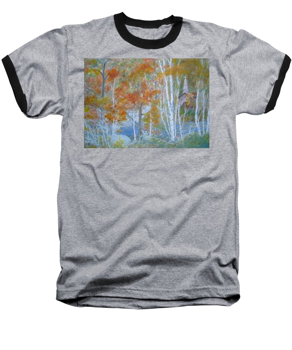 Church; Landscape; Birch Trees Baseball T-Shirt featuring the painting Sanctuary by Ben Kiger
