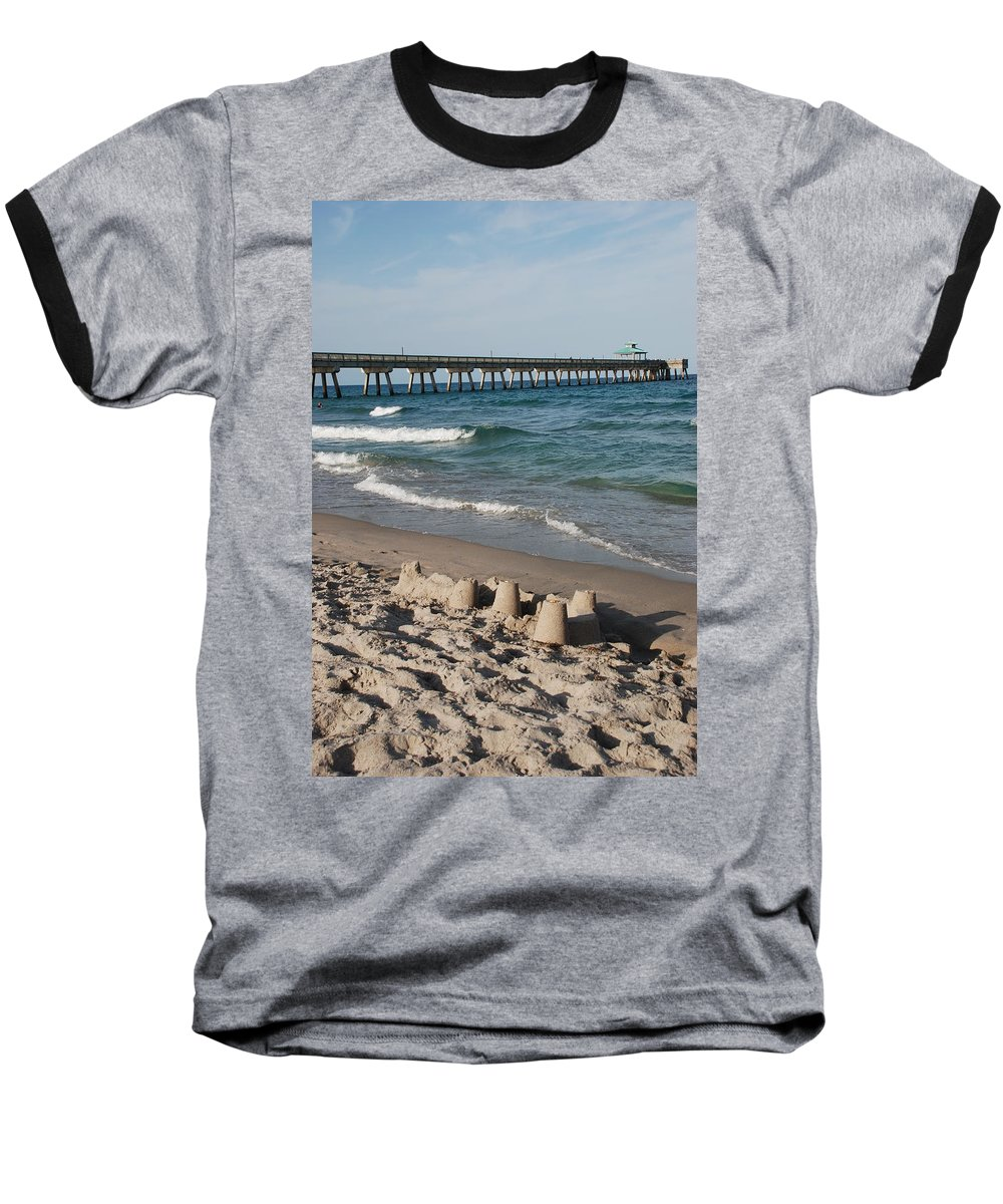 Sea Scape Baseball T-Shirt featuring the photograph Sand Castles And Piers by Rob Hans