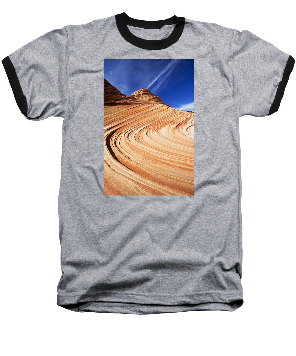 The Wave Baseball T-Shirt featuring the photograph Sandstone Slide by Mike Dawson