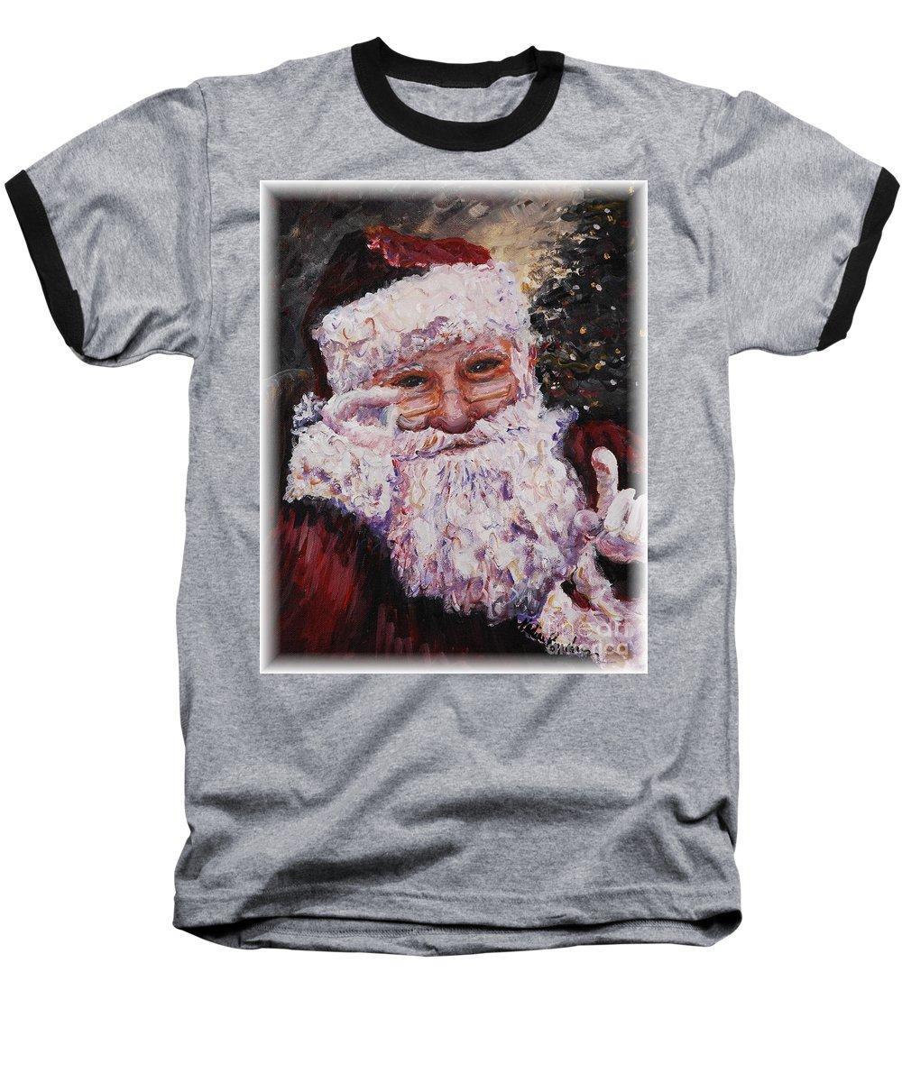 Santa Baseball T-Shirt featuring the painting Santa Chat by Nadine Rippelmeyer