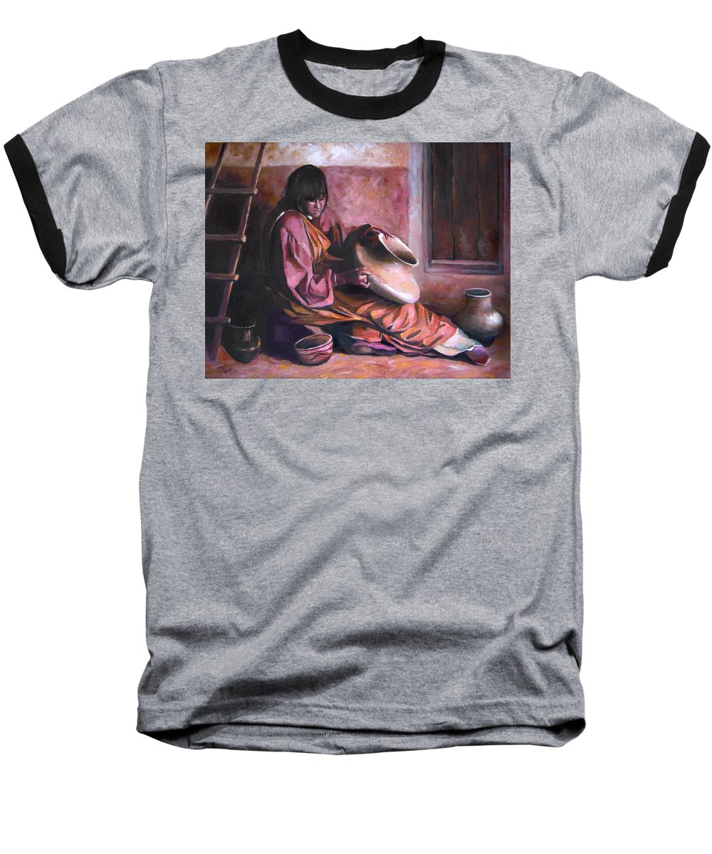 Native American Baseball T-Shirt featuring the painting Santa Clara Potter by Nancy Griswold