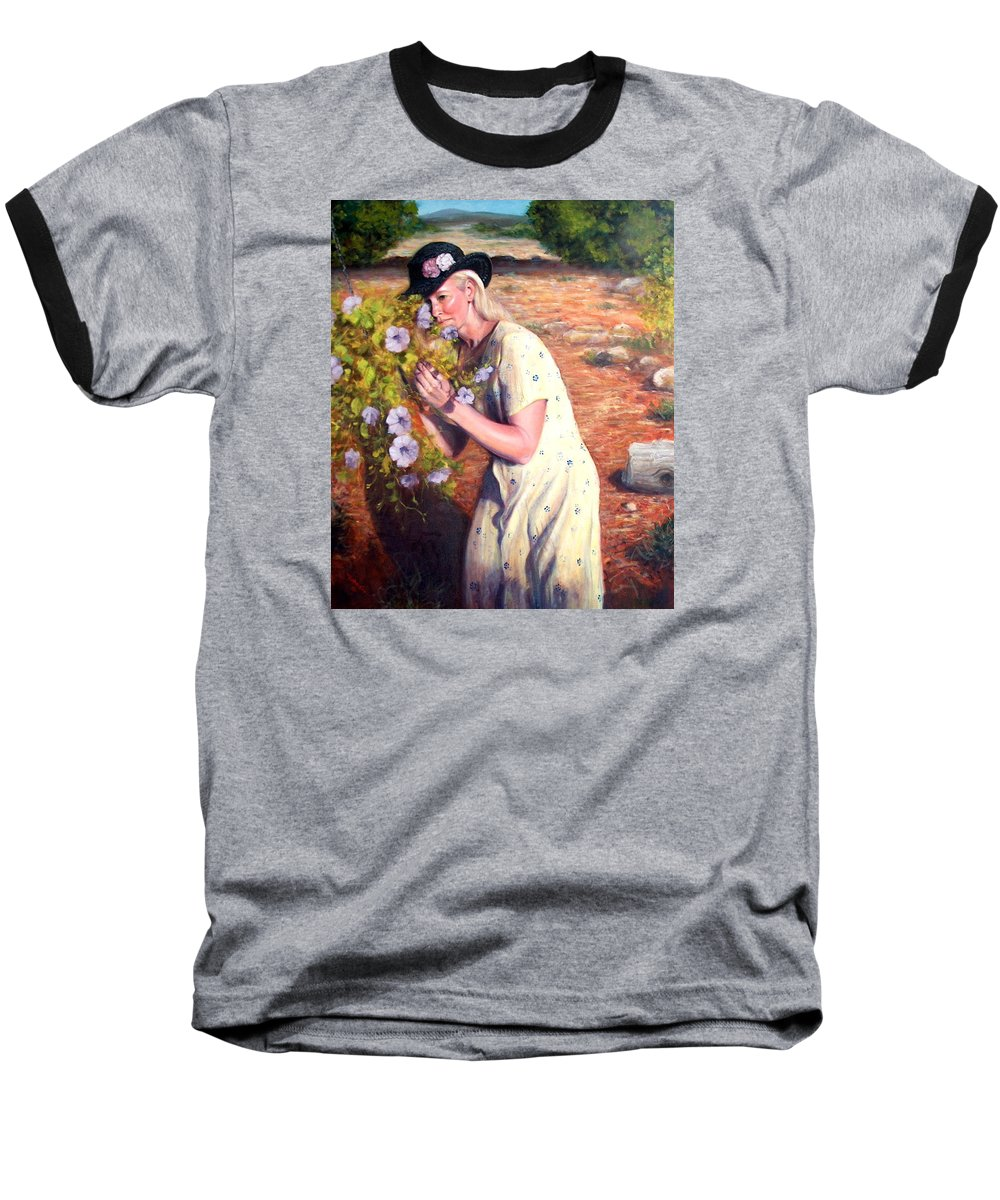 Realism Baseball T-Shirt featuring the painting Santa Fe Garden 2  by Donelli DiMaria