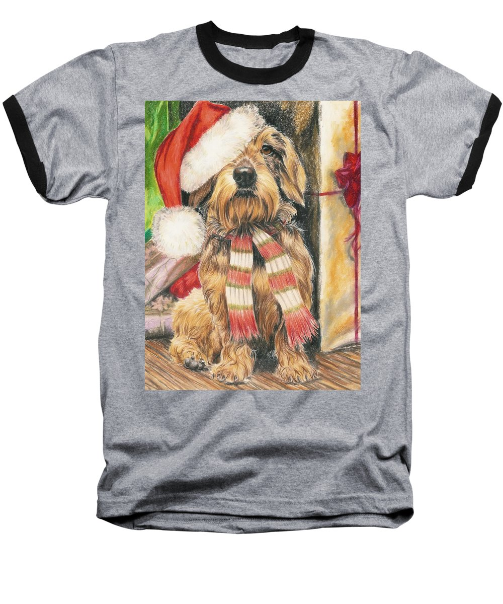 Hound Group Baseball T-Shirt featuring the drawing Santas Little Yelper by Barbara Keith